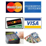 We accept Payments of: MasterCard, American Express, Visa, Discover, Linx, Cash